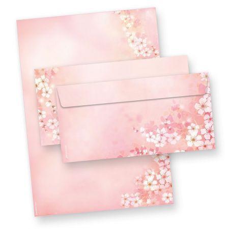 Briefpapier Set Frühling Kirschblüten (25 Sets mit Umschläge) Rosa Blüten