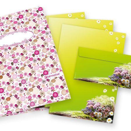 Frühling Briefpapier Set grün (25 Sets mit Umschläge) Geschenkset DIN A4 90g Geschenkset Blumen
