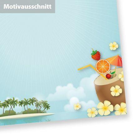 Briefpapier Strand + Palmen (50 Blatt) A4 beidseitig - oder andere Menge wählbar: