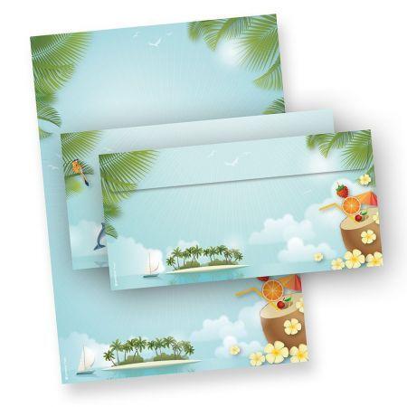 Briefpapier Set Sommerparty 25 Blatt DIN A4 90g und 25 Umschläge DIN lang blau Motiv-Papier