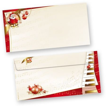 Briefumschläge Weihnachten Musik (50 Stück ohne Fenster)  mit Noten und Klavier