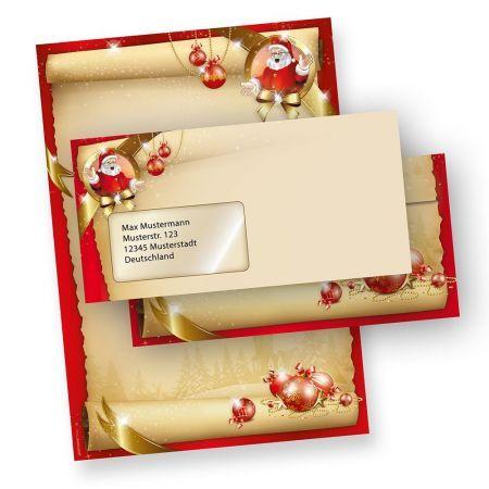 Briefpapier Weihnachten Set Santa Claus (25 Sets mit Fenster)  mit Fensterumschläge
