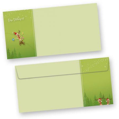 Briefumschläge Weihnachten Rentiere (50 Stück ohne Fenster)  Bedruckbar