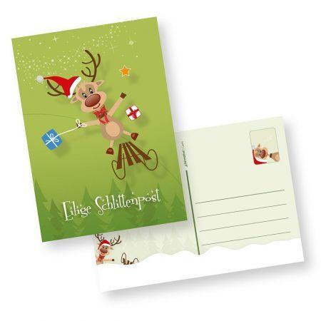 Rentiere Weihnachtspostkarten (10 Stück)