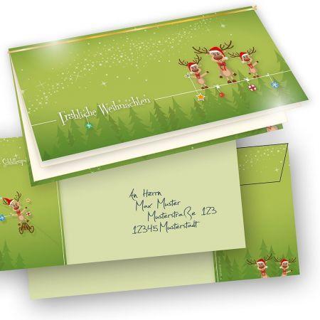 Lustige Weihnachtskarten Rentiere (25 Sets)  selbst bedrucken