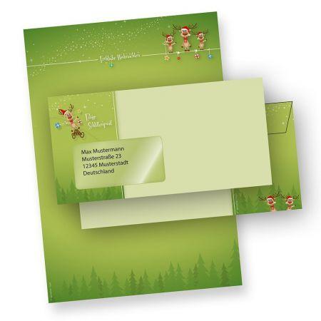 Briefpapier Weihnachten Set lustige Rentiere (25 Sets mit Fenster) mit Briefumschläge