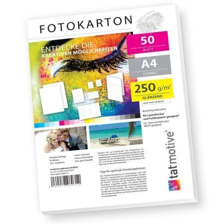 TATMOTIVE F01G50 Fotokarton Fotopapier 250g glänzend weiß / Laserdrucker / DIN A4 / Beidseitig bedruckbar / 50 Blatt