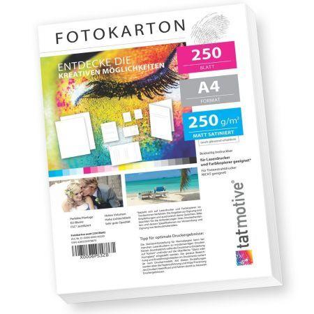 TATMOTIVE F01M250  Fotokarton Fotopapier 250g matt weiß / Laserdrucker / DIN A4 / Beidseitig bedruckbar / 250 Blatt