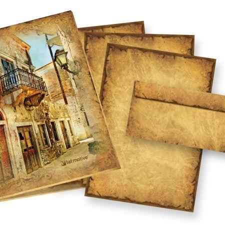 Altes Briefpapier Set CASANOVA (25 Sets) Geschenkset Mappe Vintage Set Motivpapier Vintage