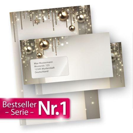 Briefpapier Weihnachten Set NOBLESSE (25 Sets mit Fenster)
