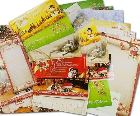 Buntes Motiv-Set Weihnachten (74-tlg.) Briefpapier gemischt Set