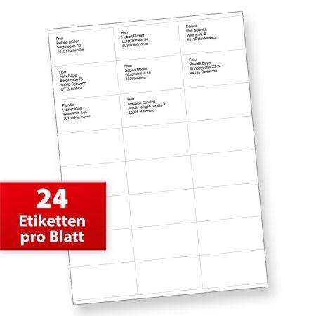 Adressaufkleber 70 x 36 mm FiX (2400 Etiketten) Aufkleber für Internetmarke