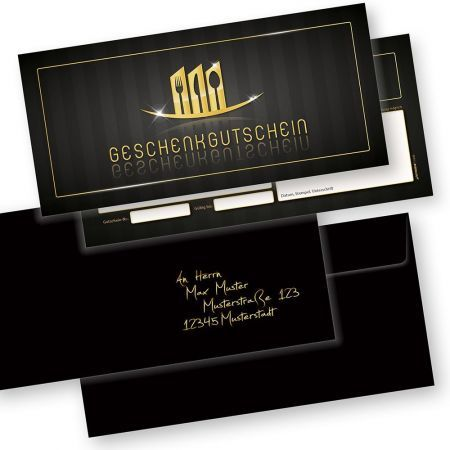 Restaurant Geschenkgutscheine (100 Stück mit Umschläge) Gutscheine selbst ausfüllen und verkaufen