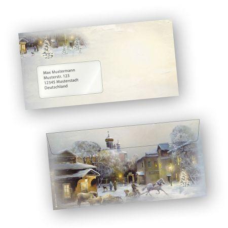 Briefumschläge Weihnachten WINTER-AQUARELL (1000 Stück mit Fenster)