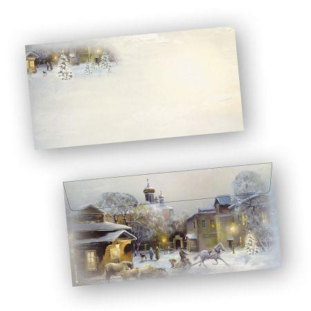 Umschläge Weihnachten WINTER-AQUARELL (100 Stück ohne Fenster) Din lang