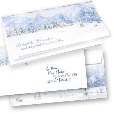 Weihnachtskarten Set Weiße Weihnachten mit Briefumschläge (50 Sets)  nostalgisch