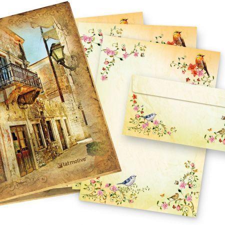 TATMOTIVE 05-0117-0090-00025 TOSKANA Briefpapiermappe (25 Sets)  A4 297 x 210 mm 90 g/qm + Briefumschläge DL - bunte Blumen und Vögel Geschenkidee Frau