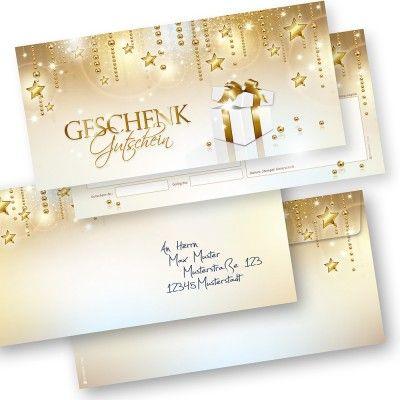 Geschenkgutscheine Weihnachten Stardreams (100 Sets) mit Umschläge