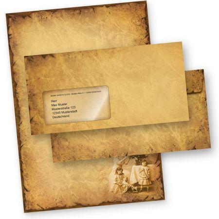 Briefpapier Weihnachten NOSTALGIE (10 Sets mit Fensterumschläge) Weihnachtsbriefpapier DIN A4