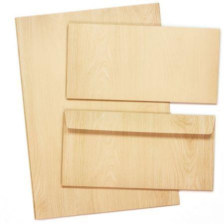 Briefpapier Set Holz-Optik Vintage MADEIRA (10 Sets) für Schreiner Tischler uvm. Set DIN A4 90g beidseitig