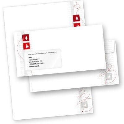 Red Modern Art 500 Sets Briefpapier Weihnachten mit Umschläge mit Fenster für Firma