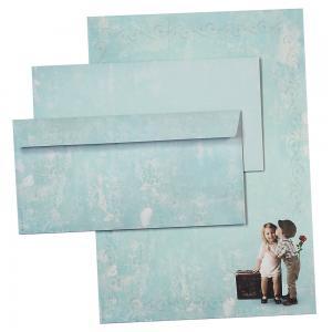Briefpapier Set FIRST LOVE (25 Sets) Vintage A4 297 x 210 mm 90 g/qm mit Umschläge