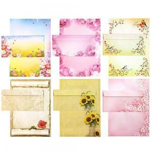 Briefpapier Set - Mix Blumen - 6 x 5 Sets mit Umschläge, Briefpapiersammlung gemischt mit unseren beliebtesten Blumenmotiven