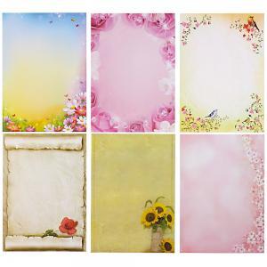 Briefpapier Mix Blumen 6 x 10 Blatt, Briefpapiersammlung gemischt mit unseren beliebtesten Blumenmotiven
