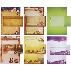 Briefpapier Set - Mix Weihnachten WM01 - 6 x 5 Sets mit Umschläge, Briefpapiersammlung gemischt mit unseren beliebtesten Weihnachtsmotiven