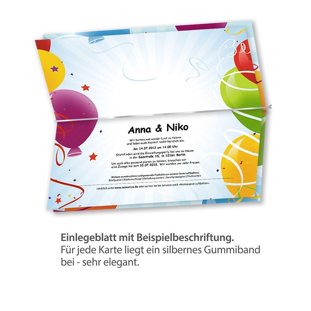 Einladung Kindergeburtstag, Party (25 Sets Mit Umschläge) : Tatmotive.de:  Briefpapier Alle