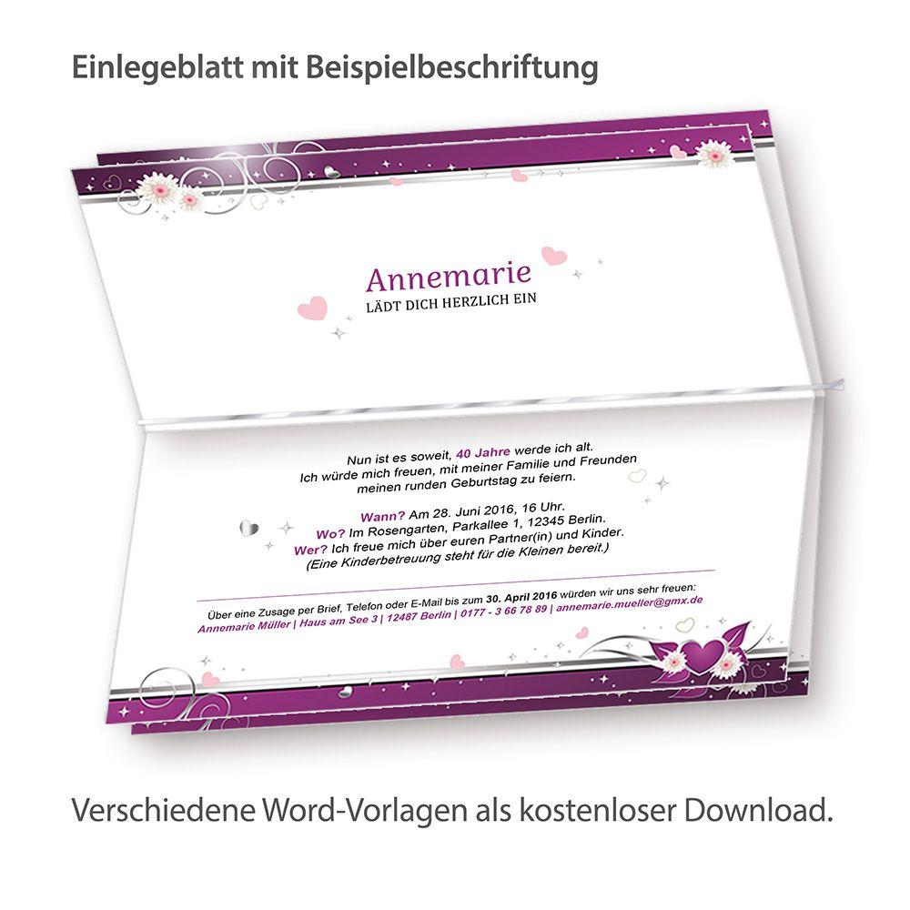 Einladung Herzen 10 Karten inkl. Kuverts Einladungskarten Geburtstag ...
