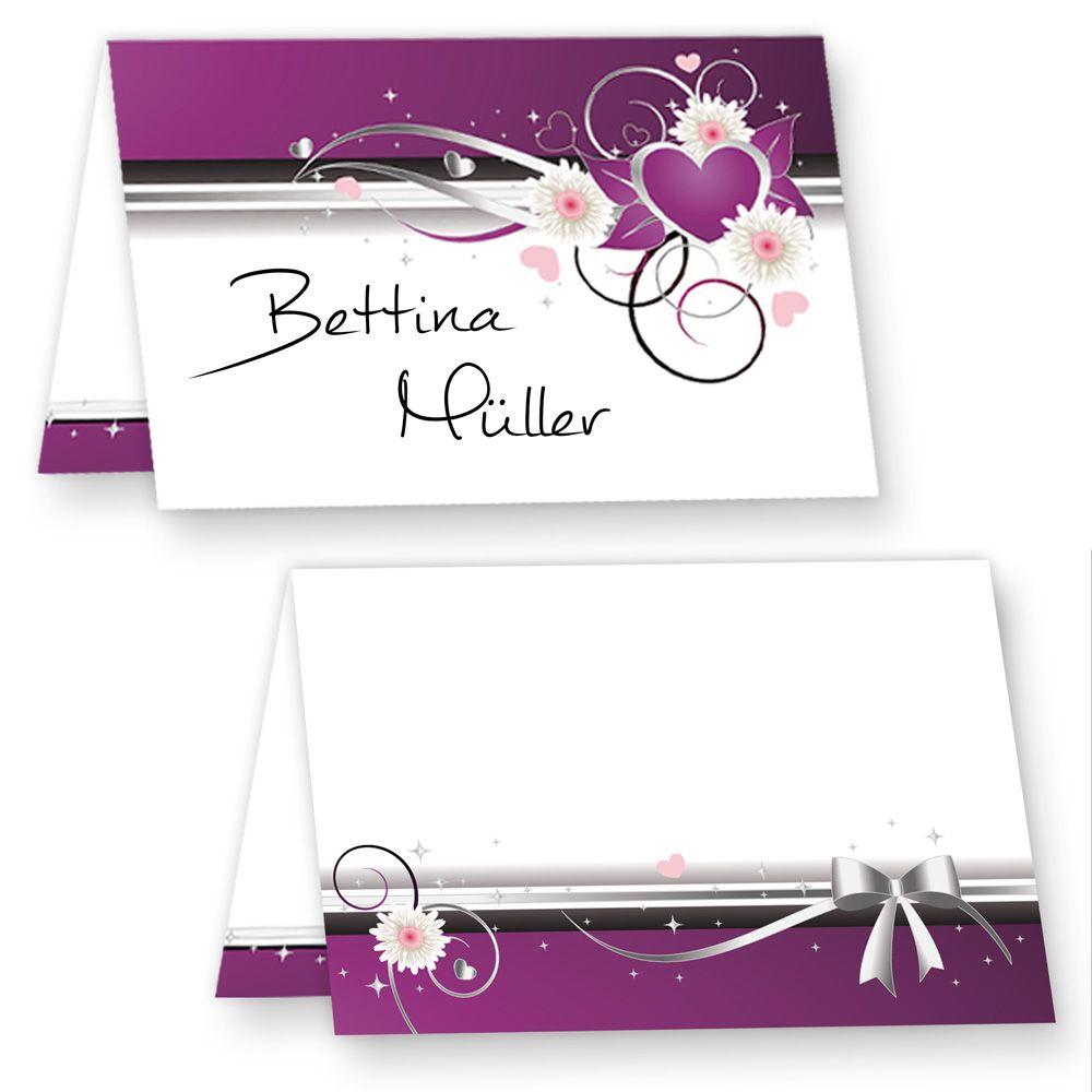 neu 25 tischkarten geburtstag lila herz auch f r hochzeit und andere feiern. Black Bedroom Furniture Sets. Home Design Ideas