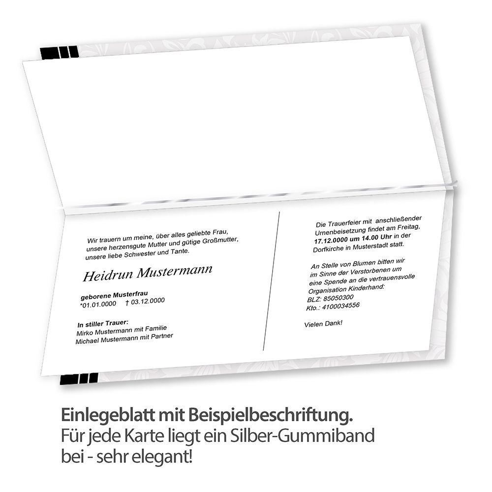 100 trauerkarten danksagung selbst bedrucken mit umschlag. Black Bedroom Furniture Sets. Home Design Ideas