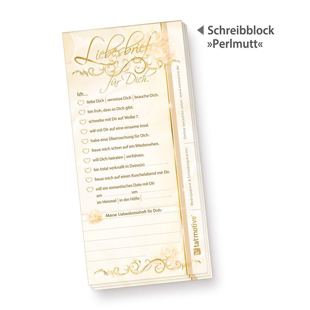 Schreibblock Liebesbrief (10 Stück) süße Schreibblöcke \
