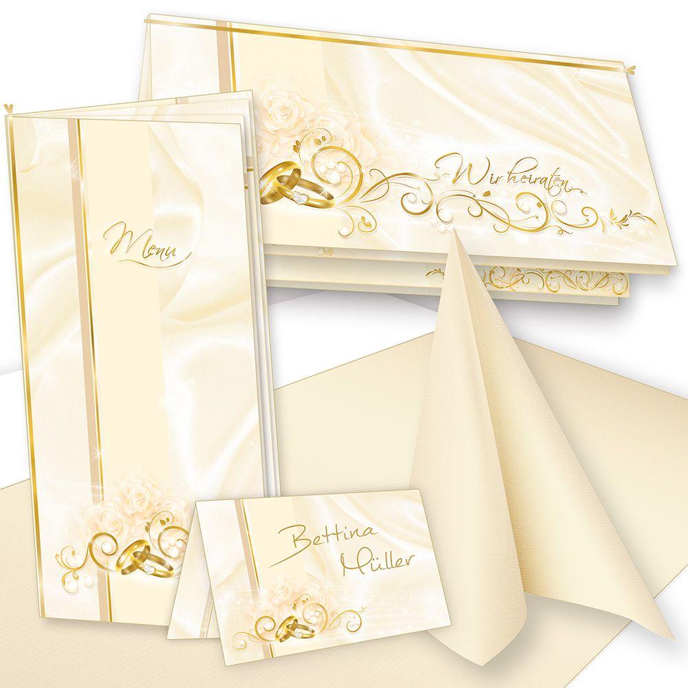Einladung+Tischdeko Hochzeit Set 16 Gäste Menükarten Tischkarten Kerzen