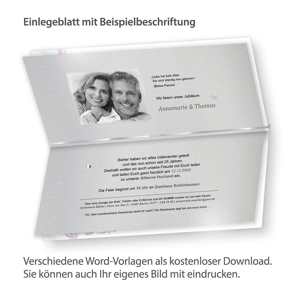 Einladungskarten Silberhochzeit Einladungskarten: Einladungskarten Silberne Hochzeit 10 Karten Silberhochzeit