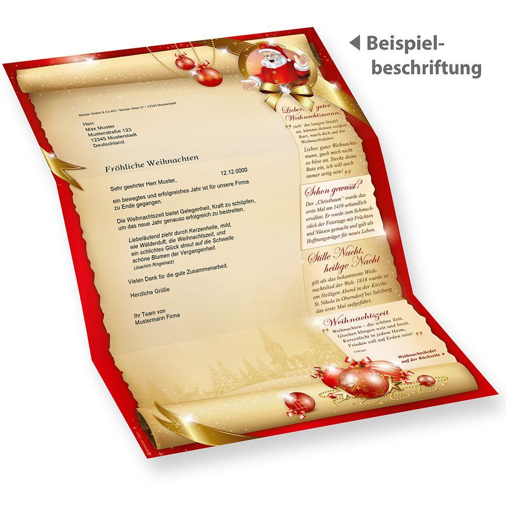 Briefpapier Weihnachten Set SANTA CLAUS beidseitig (25 Sets ohne ...