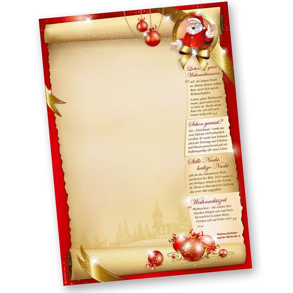 Briefpapier Weihnachten Set Santa Claus Beidseitig 25 Sets Ohne