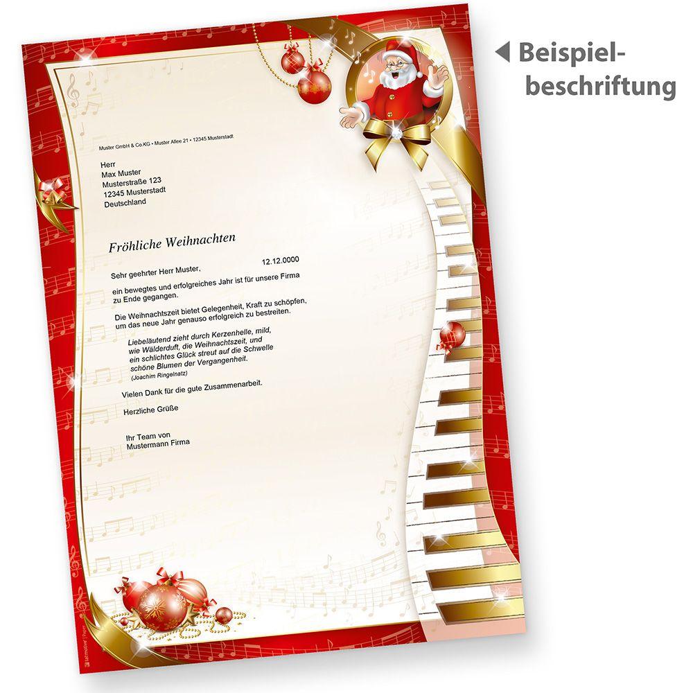 Weihnachtspapier Musik 100 Blatt Briefpapier Weihnachten Motivpapier