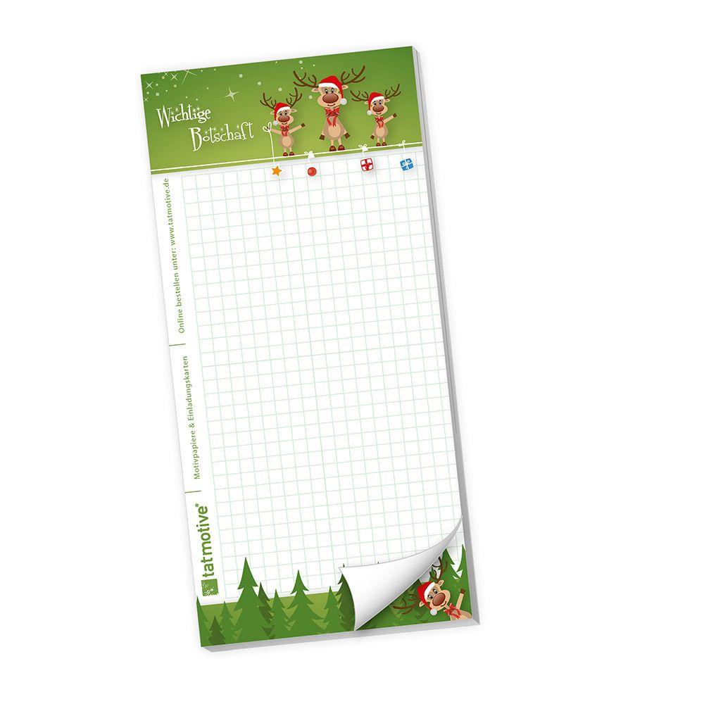 Schreibblock 3 lustige Rentiere (20 Stück) Wunschzettel für Weihnachten