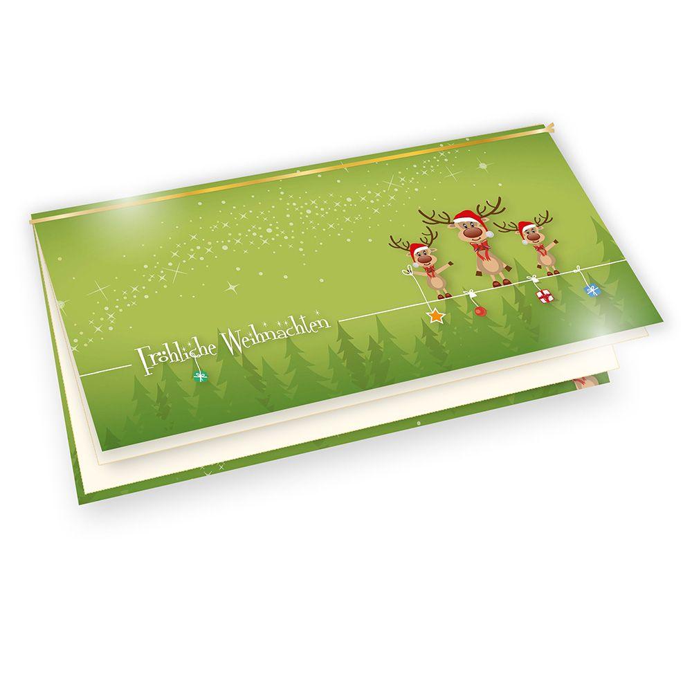 weihnachtskarten mit umschlag lustig rentiere 100 sets f r. Black Bedroom Furniture Sets. Home Design Ideas