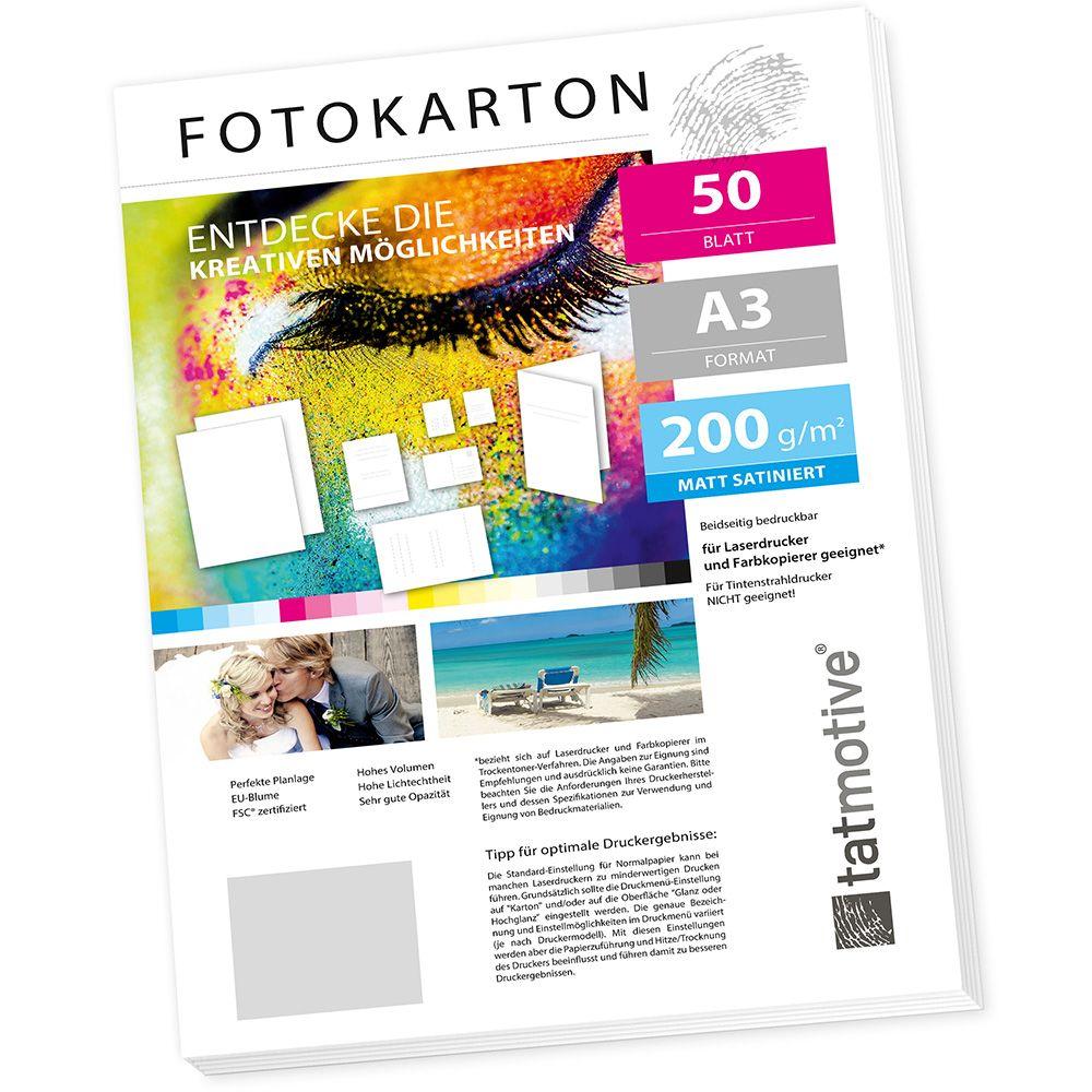 Tatmotive Fa3200m50 Fotokarton Fotopapier 200g Matt Weiß Laserdrucker Din A3 Beidseitig Bedruckbar 50 Blatt
