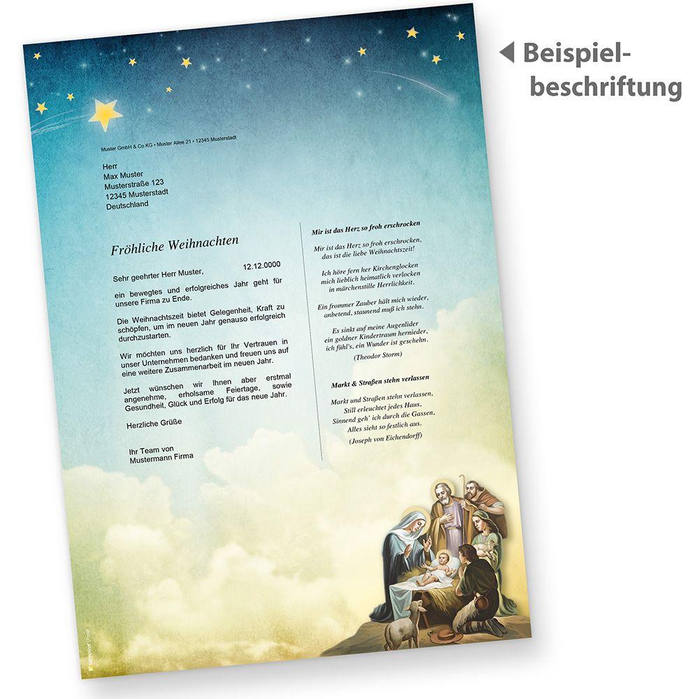 Briefpapier Kirche Weihnachten 100 Blatt Jesus Geburt Bethlehem