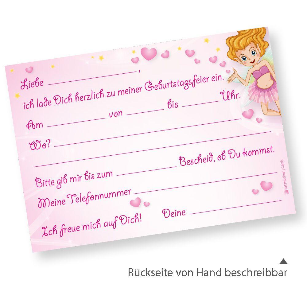 ROSANELL Einladungskarte Kindergeburtstag (1 Set) Einladung Mit Prinzessin  Für Mädchen
