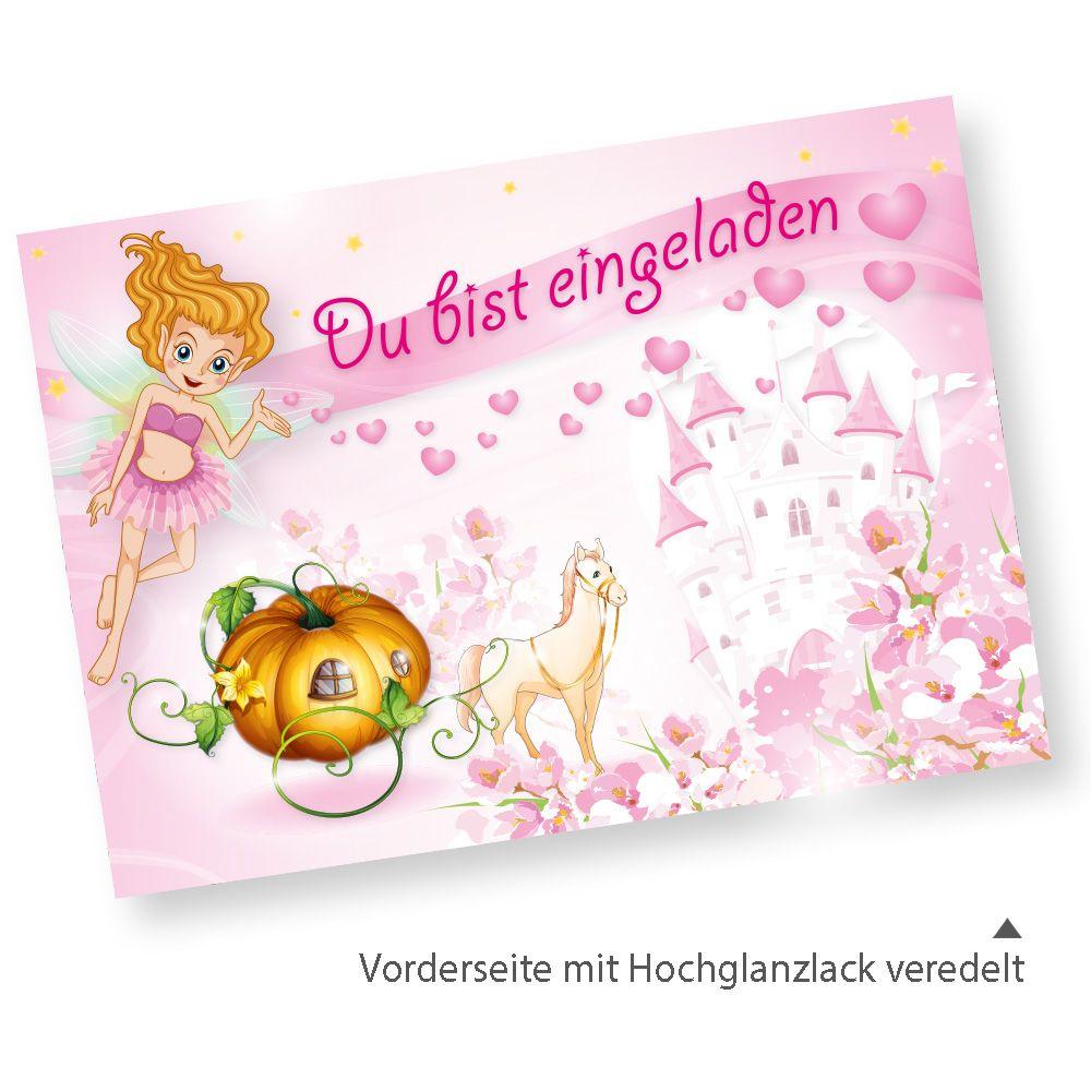 20 Sets ROSANELL Einladungskarten Zum Kindergeburtstag Mit Umschlag  Einladungen Mit Prinzessin Für Mädchen Rosa