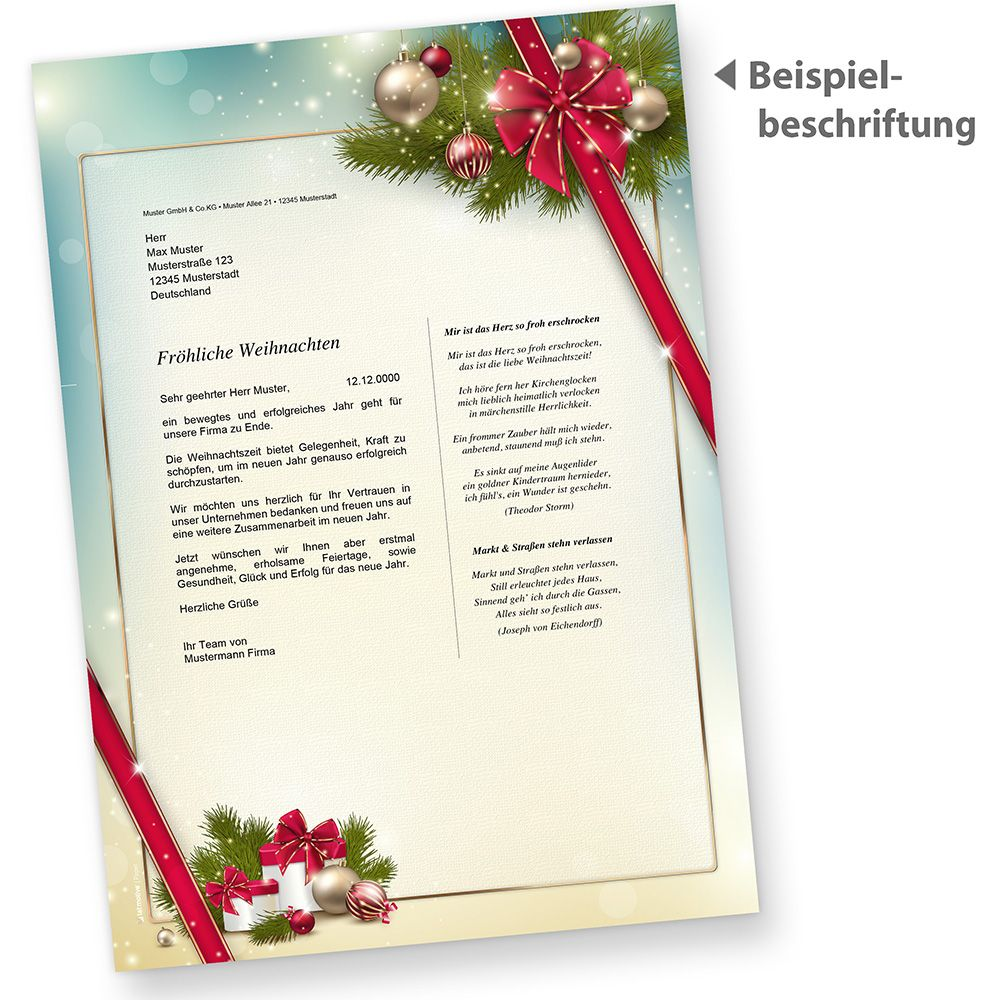 briefpapier weihnachten gesch ftlich 250 blatt rote schleife. Black Bedroom Furniture Sets. Home Design Ideas