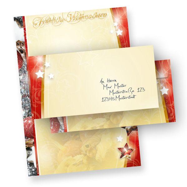 Weihnachtsbriefpapier Lebkuchen 1-seitig (25 Sets ohne Fenster) mit Umschläge