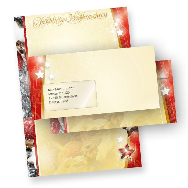 Briefpapier Weihnachtsmotiv Lebkuchen 1-seitig (100 Sets mit Fenster)  mit Fensterumschläge