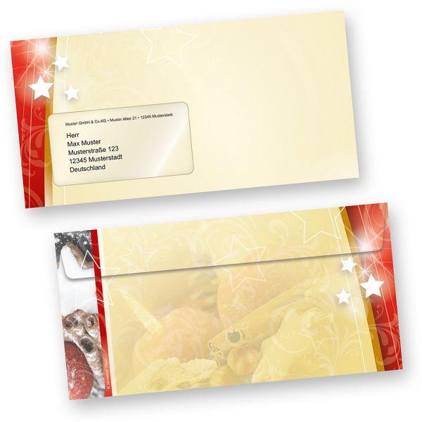 Weihnachten Umschläge (50 Stück mit Fenster) lecker  Lebkuchen, beidseitig farbig, für tolle Weihnachtspost