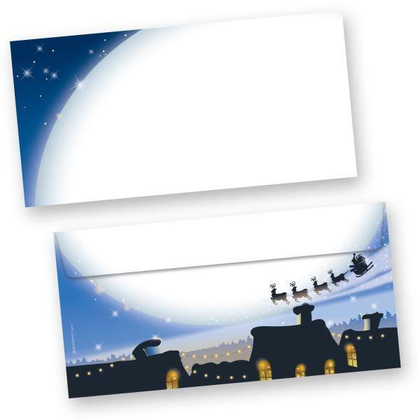 Weihnachten Briefhüllen blau (250 Stück ohne Fenster)